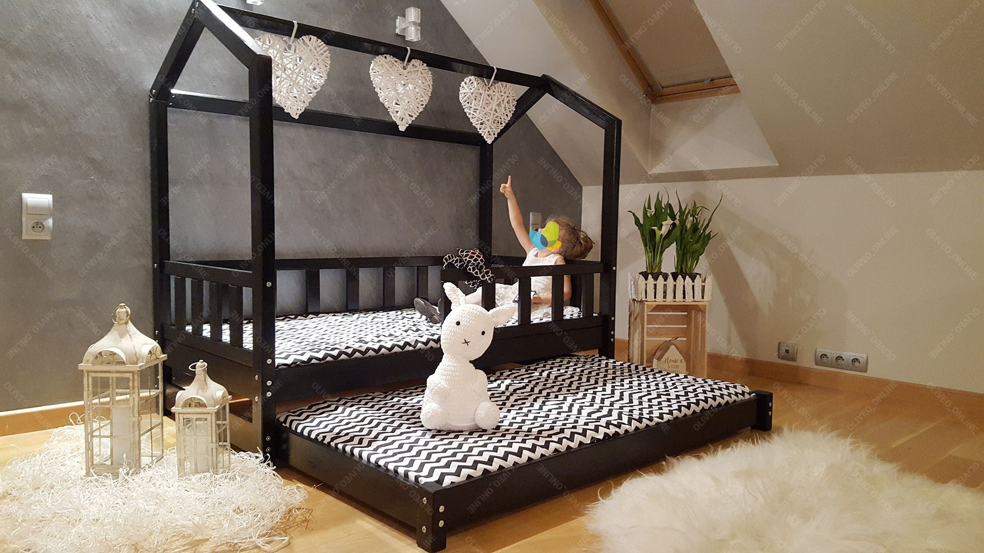 House Bed Bella With Barrier And Second Bed 90 X 200cm House Bed