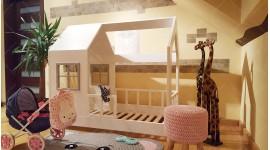 Lit cabane Bella avec barrière 90 x 200cm
